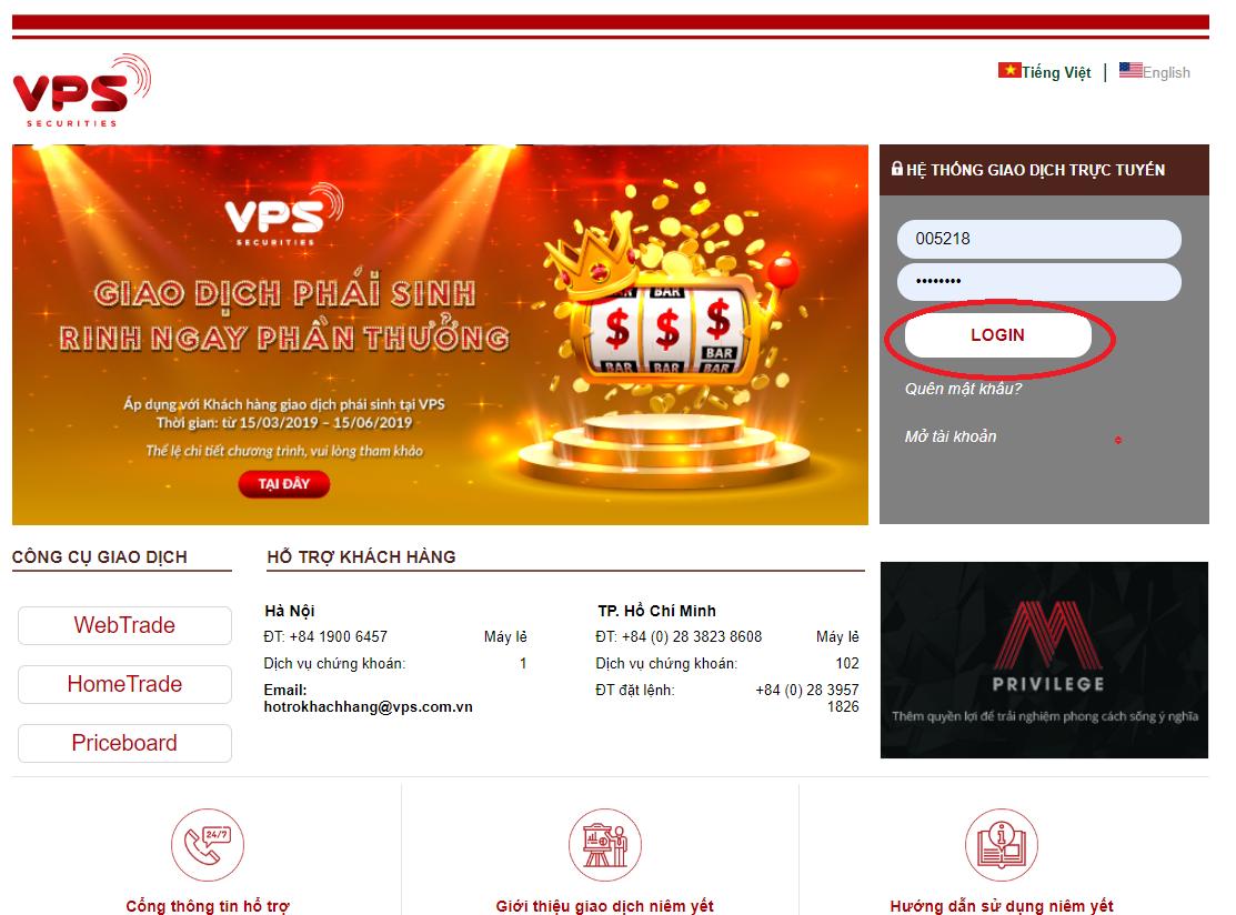 Hướng dẫn đăng nhập vào tài khoản chứng khoán VPBS